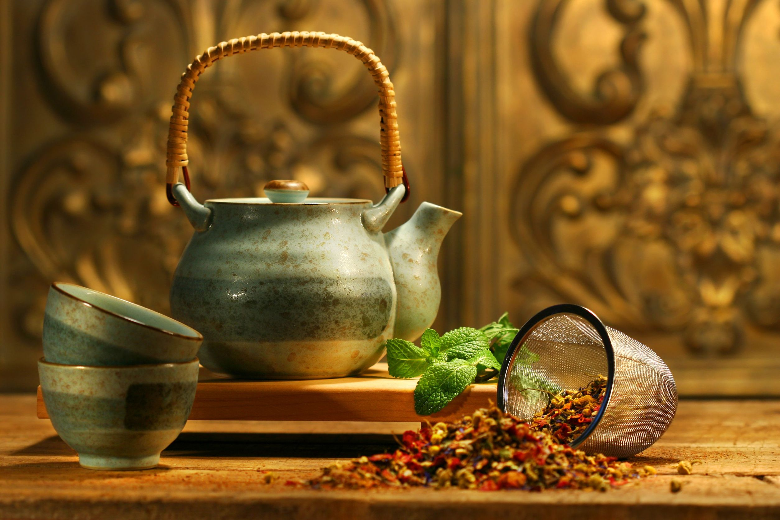 2547475 - asian herb tea on an old rustic table