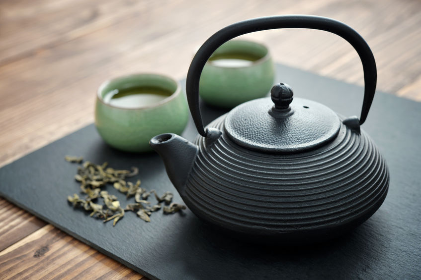 Cast-iron teapot with matcha green tea