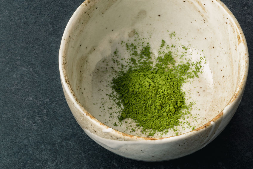 Japanese match green tea in traditional bowl