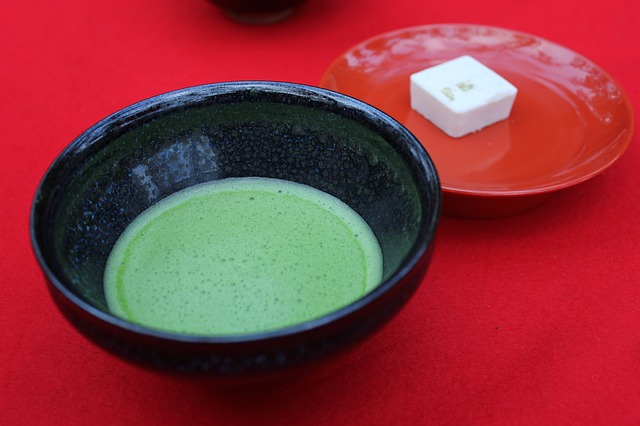 green tea and rakugan